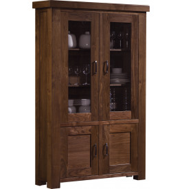 13522 - Buffet vaisselier noyer contemporain 2 portes