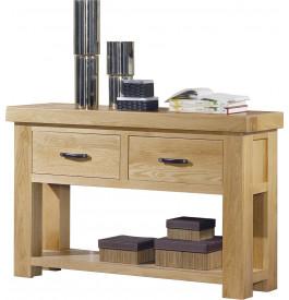 console ch ne clair contemporain 2 tiroirs double plateau. Black Bedroom Furniture Sets. Home Design Ideas