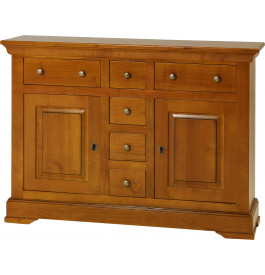 13580 - Buffet 2 portes 6 tiroirs merisier massif