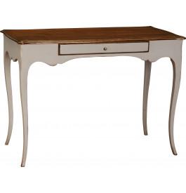 1366 - Table d'écriture grise 1 tiroir pieds galbés