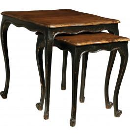 1370 - Tables gigognes noires plateau noyer pieds volutes