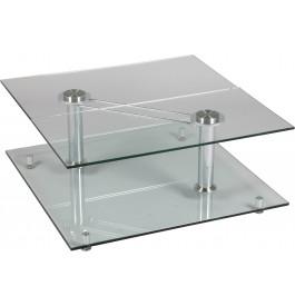 1375 - Table basse carrée en verre 2 plateaux
