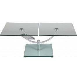 1379 - Table basse rectangulaire en verre plateau relevable