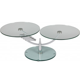 1382 - Table basse ronde en verre plateau relevable