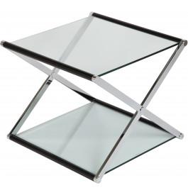 1387 - Table basse carrée en verre double plateau