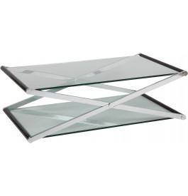 1388 - Table basse rectangulaire en verre double plateau