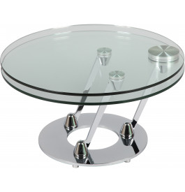 1389 - Table basse ronde en verre design