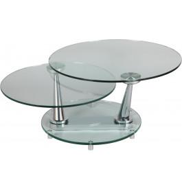 1391 - Table basse ronde en verre socle rond