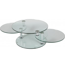 1400 - Table basse ronde en verre 3 plateaux