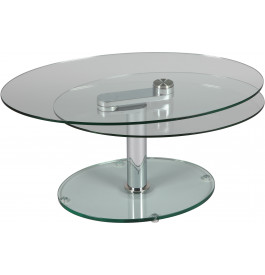 1404 - Table basse ovale en verre