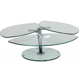 1412 - Table basse pétale articulée verre