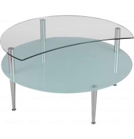 1423 - Table basse verre demi-lune double plateau