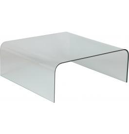 Table basse design carr en verre tremp courb - Table en verre carre ...