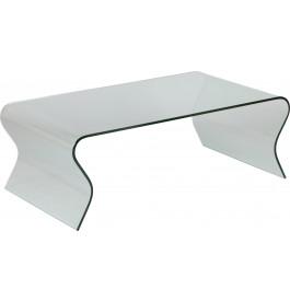 1433 - Table basse design verre courbé vagues