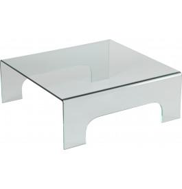 1436 - Table basse carrée verre courbé 4 pieds