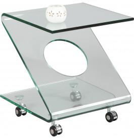 1444 - Bout de canapé verre courbé sur roulettes