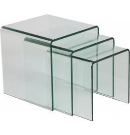 tables gigognes design en verre tremp courb. Black Bedroom Furniture Sets. Home Design Ideas