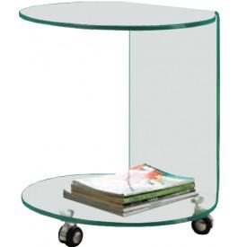 1448 - Guéridon verre courbé double plateau sur roulettes