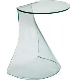 1450 - Guéridon design verre courbé arrondi