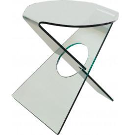 1452 - Guéridon design verre courbé pieds croisés