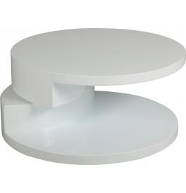 1467 - Table basse ronde articulée laquée blanc