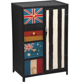 1475 - Cabinet acier peinture vieillie drapeaux
