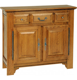 1489 - Meuble d'entrée chêne massif 3 tiroirs 2 portes