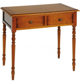 1591 - Table d'écriture merisier 2 tiroirs