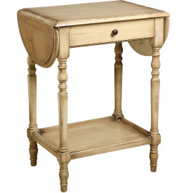 1625 - Table ivoire 2 abattants 1 tiroir
