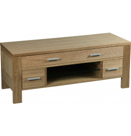 Meuble TV 2 tiroirs 1 niche chêne massif FSC