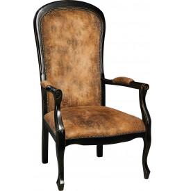 1742 - Fauteuil Voltaire microfibre imitation cuir noir