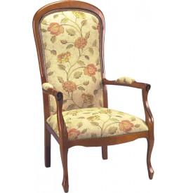 1748 - Fauteuils Voltaire tissu beige à fleurs (x2)
