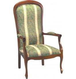 1749 - Fauteuils Voltaire tissu vert à rayures (x2)