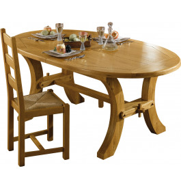 1775 - Table ovale chêne L 200 1 allonge
