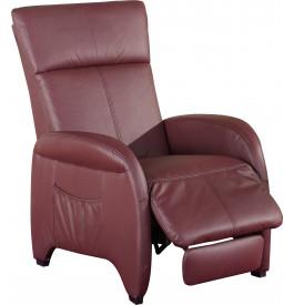 1947 - Fauteuil relaxation tissu bordeaux repose pieds intégré