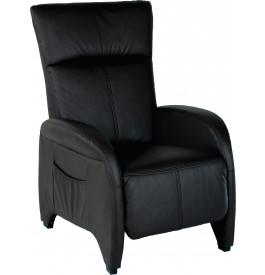1950 - Fauteuil relaxation tissu noir repose pieds intégré