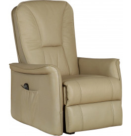 2090 - Fauteuil relaxation électrique cuir beige