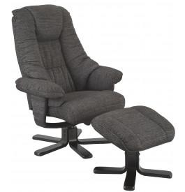 2119 - Fauteuil relaxation gris chiné et repose pied