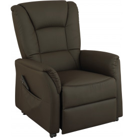 2120 - Fauteuil relaxation releveur électrique brun large assise