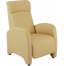 2141 - Fauteuil relaxation tissu beige repose pieds intégré