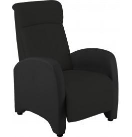 2143 - Fauteuil relaxation tissu noir repose pieds intégré