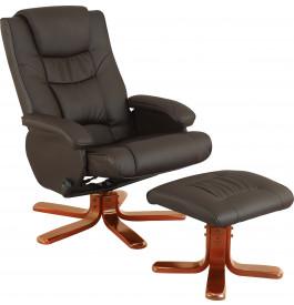 2146 - Fauteuil relaxation brun avec repose pieds