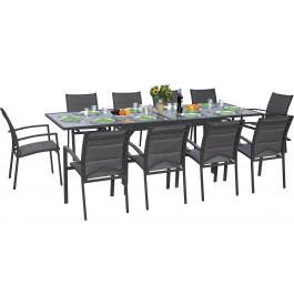 Ensemble Modulo 10 table rectangulaire et 10 fauteuils aluminium