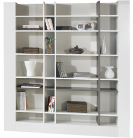 Etag re design laque blanc et gris brillants biblioth que bureau - Etagere laquee blanc ...