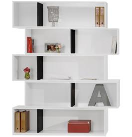 Bibliothèque design laque blanc et chocolat brillant