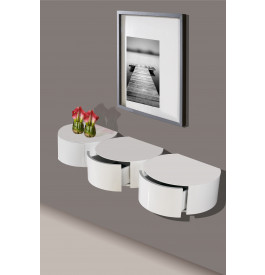 2439 - Console design arrondie laque blanc brillant 1 tiroir
