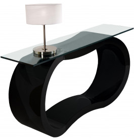 console design laqu noir brillant plateau verre. Black Bedroom Furniture Sets. Home Design Ideas