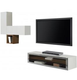 2453 - Composition design meuble TV 2 étagères laqué blanc