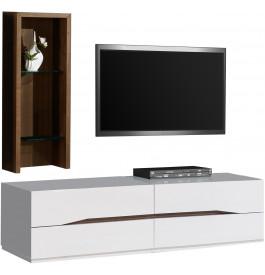 2457 - Composition design meuble TV étagère noyer