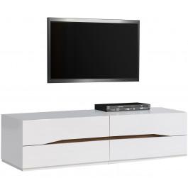 2460 - Banc TV laqué blanc brillant 4 tiroirs